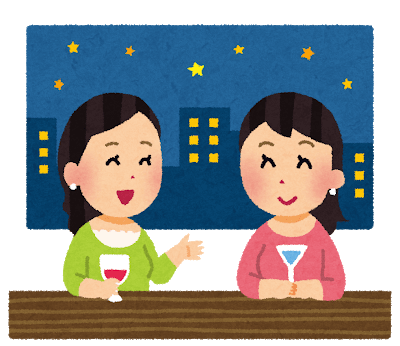 お酒を飲んでいる女性2人のイラスト