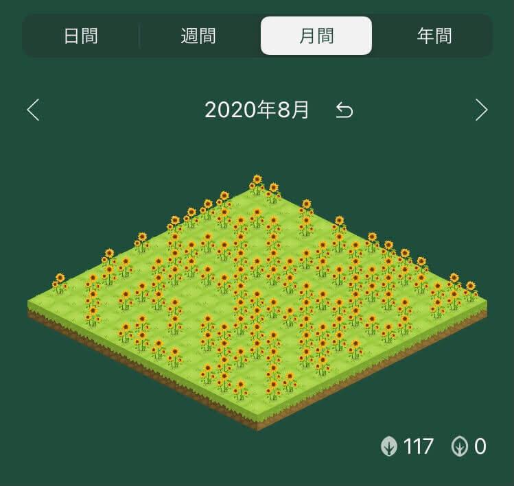 植樹アプリ「Forest」の植樹ログ画面(ひまわり)