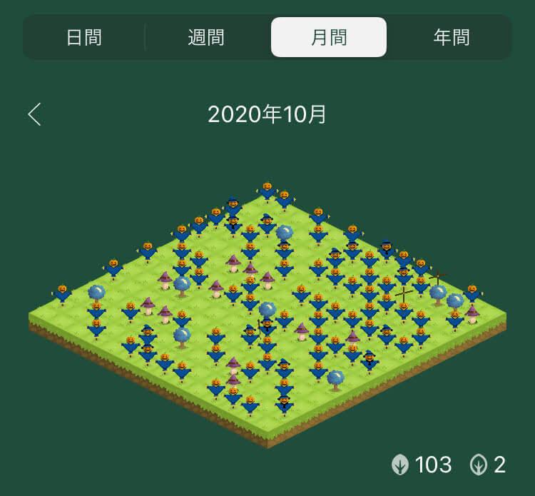 植樹アプリ「Forest」の植樹ログ画面(ハロウィンかかし)
