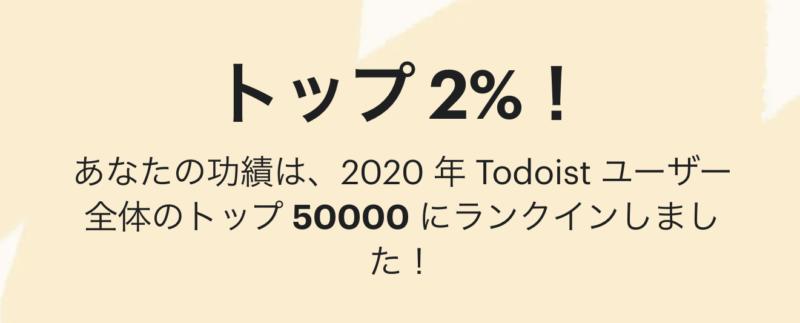 2020年のTodoist利用ランキング結果はトップ2%
